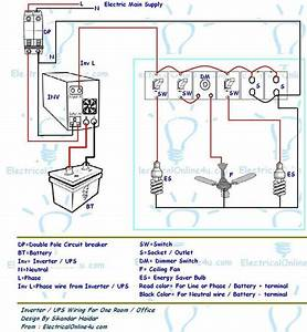 Ups  U0026 Inverter Wiring Diagram For One Room    Office
