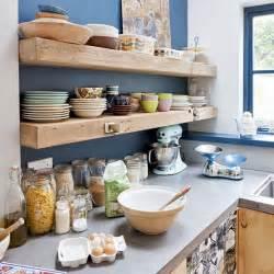 kitchen shelves ideas timber shelves on bold painted wall kitchen shelving housetohome co uk