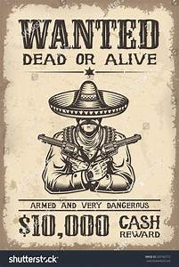 Vintage Wild West Wanted Poster Old Stock Illustration ...
