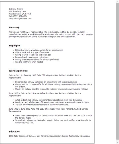 Field Representative Resume by Professional Field Service Representative Templates To Showcase Your Talent Myperfectresume