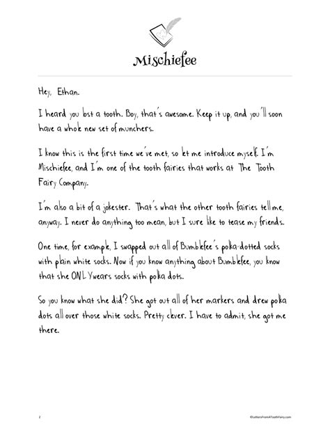 Free Tooth Fairy Letters — Letters From A Tooth Fairy