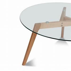 Table Basse En Verre Ronde : table basse ronde 90cm ingmar en verre et bois ~ Teatrodelosmanantiales.com Idées de Décoration