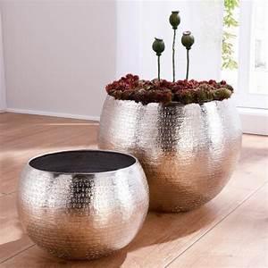 Set Of 2 Indoor Plant Pots  Aluminium  Silver Online