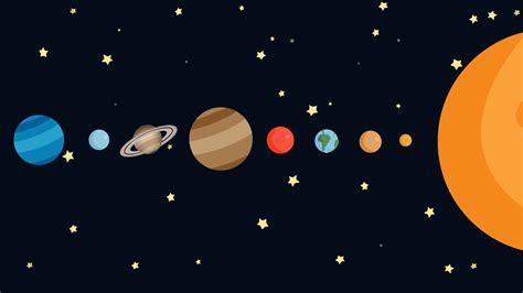 Cartoon Solar System By Order Motion Background