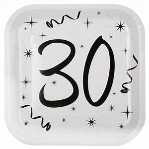 Pappteller 30 Geburtstag : wei e party pappteller mit schwarzen aufdruck f r den 30 geburtstag ~ Markanthonyermac.com Haus und Dekorationen