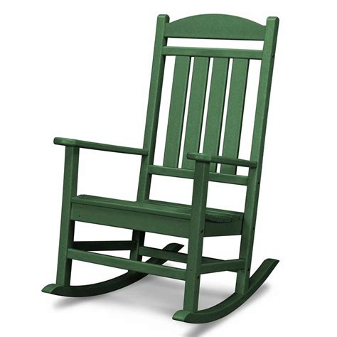 outdoor patio rocking chairs shop polywood presidential green plastic patio rocking
