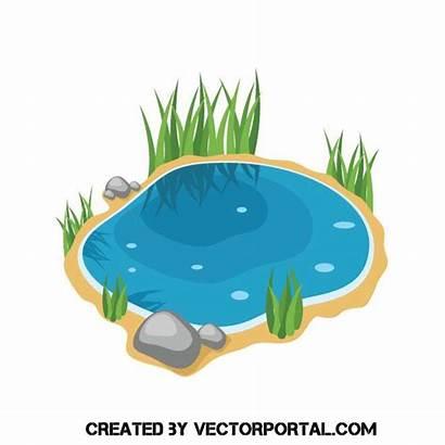 Lake Clipart Vector Clip Pond Drawing Cartoon