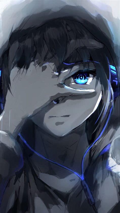 anime boy hoodie blue eyes