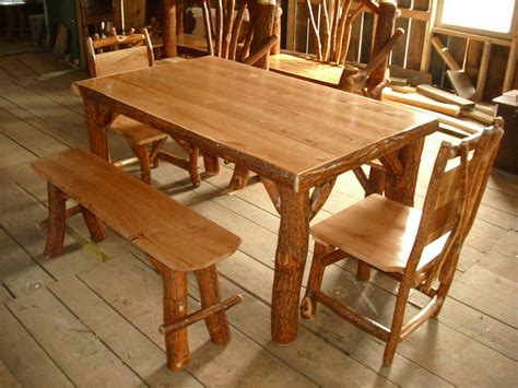 30323 log dining table best rustic log sassafras table chairs and benches set