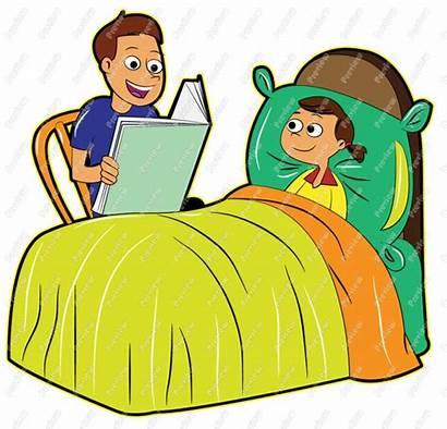 Bedtime Clipart Reading Story Clip Father Daughter