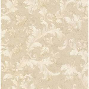 Brewster Dimitri Beige Scroll Wallpaper-2704-63702 - The