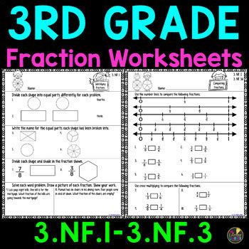 grade fraction worksheets   lifetime learner tpt