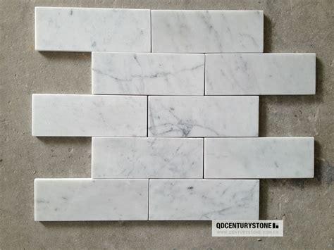bianco carrara italian white marble 3x8 bathroom wall