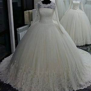 long sleeve lace wedding dress puffy ball gown wedding With long sleeve ball gown wedding dress