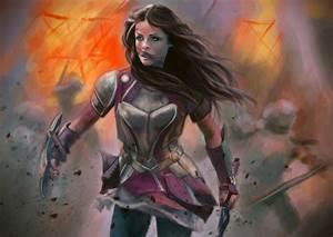 Warrior, Women, With, Swords, Women, Brunette, Lady, Sif, Artwork, Armor, Sword, Fantasy, Art