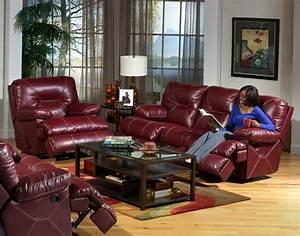 Cortez 2 Piece Dual Reclining Sofa Set in Dark Red Leather