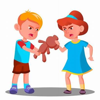 Quarrel Children Illustration Cartoon Sibling Toy Rivalry