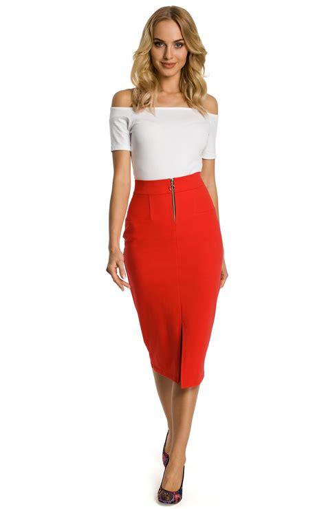 Red High Waist Pencil Skirt Moe Me348r Idresstocode