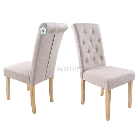 foxhunter linen fabric dining chairs scroll high