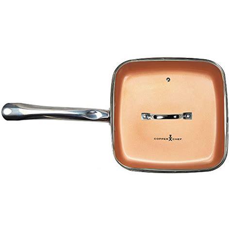 copper chef   square frying pan  lid skillet  ceramic  stick coating