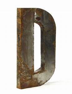 Industrial rustic metal large letter d 36 inch kathy kuo for Large rustic metal letters