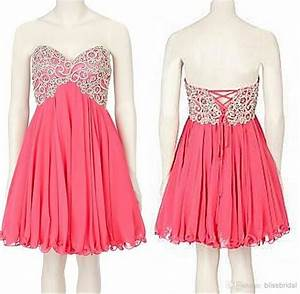 2017 Hot Pink Bridesmaid Dress Short Cheap Sweetheart Knee ...