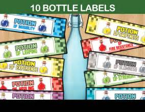 Minecraft Potion Water Bottle Labels Printable