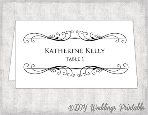 printable place card template tent  card templates