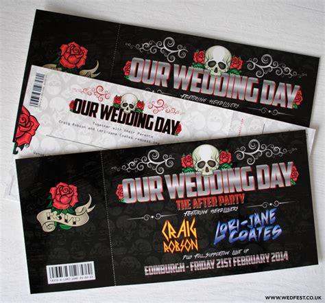 skulls  roses rock  roll wedding invites wedfest