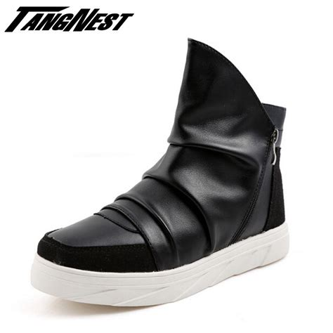 Men Boots Casual Black White Leather Shoes British