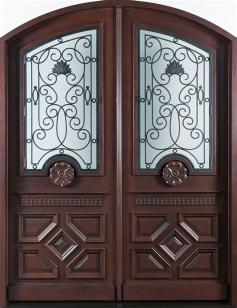 front door custom double solid wood  dark mahogany