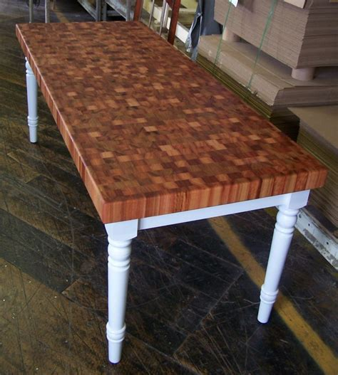 Beautiful end grain table.   Products at the factory