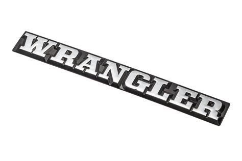jeep wrangler logo omix ada dmc 55010768 wrangler emblem for 87 90 jeep