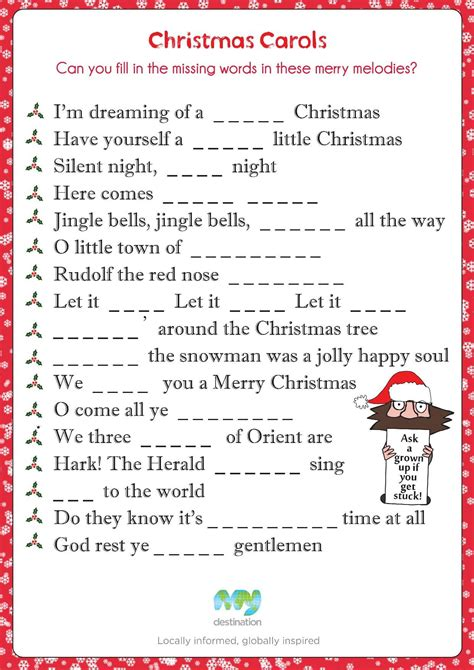 Christmas Carol Fill In The Blanks Download This Puzzle