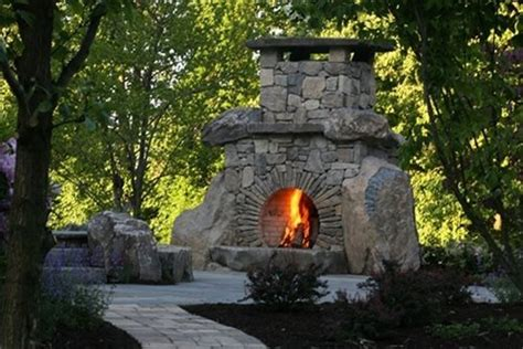 Outdoor Stone Fireplace  Landscaping Network