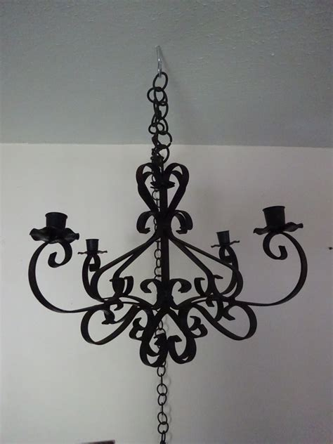 vintage rustic wrought iron hanging candle chandelier