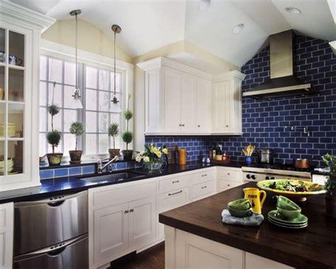 blue kitchen tiles ideas tile cabinets countertops big windows high ceilings