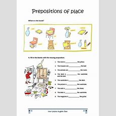 English Grammar Prepositions Of Place Worksheets For Kids (eslell)  English  English Grammar