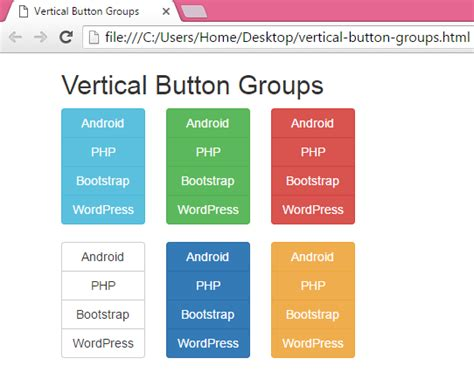 create vertical menu button groups using bootstrap classes