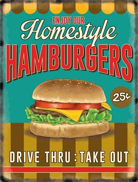 plaque metal cuisine hamburger retro diner style metal wall sign 10086