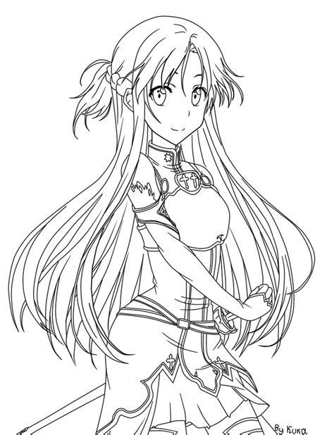 sword disegni da colorare coloring asuna by kukagirl on deviantart
