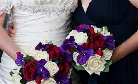 Purple White And Red Bouquet