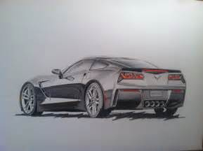 Easy Car Drawings in Pencil of a Corvette