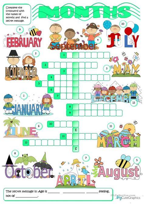 Months - crossword worksheet - Free ESL printable ...