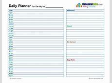 Daily Planner Template 2018 cortezcoloradonet