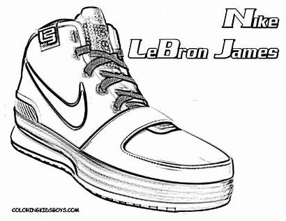 Coloring Pages Shoes Nike Shoe Basketball Lebron