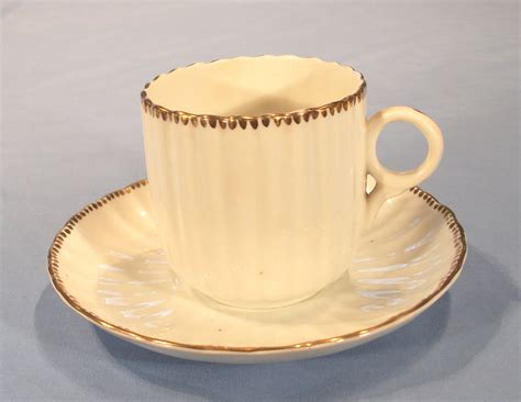 victorian fluted tea cup  saucer hand painted sold