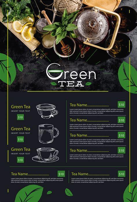 green tea  glass menu card mockup  behance