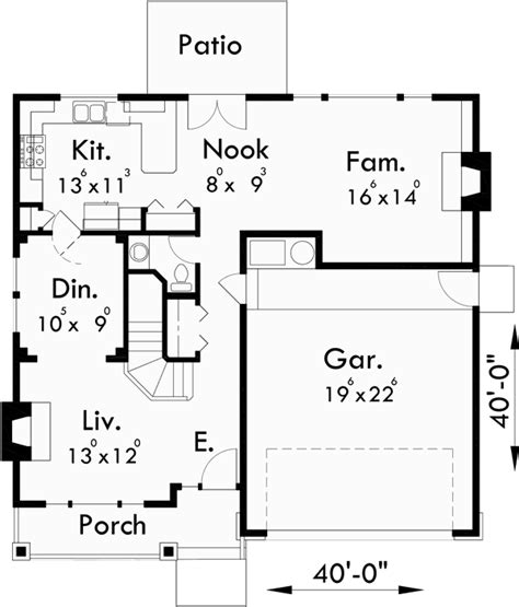 floor plans 40 x 40 two story craftsman plan with 4 bedrooms 40 ft wide x 40