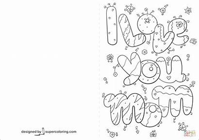 Coloring Card Mom Pages Printable Drawing Holidays